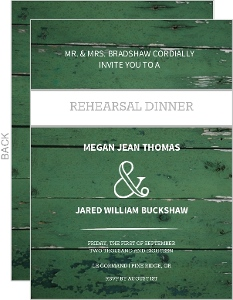 Green Wood Grain Photo  Rehearsal Dinner Invite