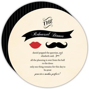 Vintage Mustache Rehearsal Dinner Invite
