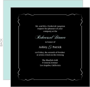 Turquoise Monogram Rehearsal Dinner Invitation