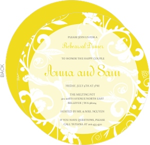Bright Yellow And White Rehearsal Dinner