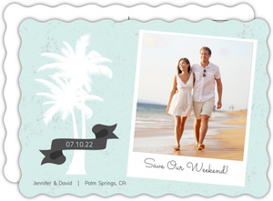 White Palm Tree Beach Save The Date Card