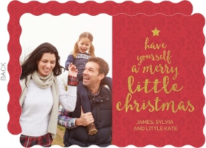 Gold Little Christmas Tree Holiday Photo Card