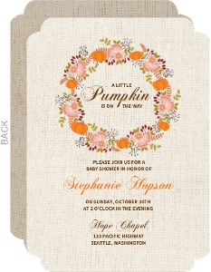 Fall Pumpkin Wreath Baby Shower Invitation