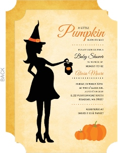 Pregnant Pumpkin Witch Baby Shower Invitation