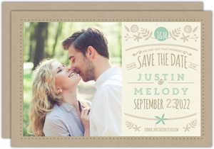 Rustic Mint and Kraft Wedding Save The Date