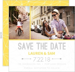 Gray and Yellow Faceted Geometric Pattern Save the Date
