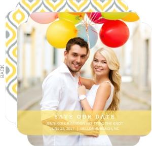Yellow and Gray Ikat Pattern Save The Date Announcement