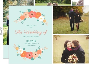 Mint Coral And Peach Country Floral Save The Date Card