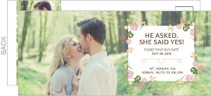 Soft Pink Whimsical Florals Save The Date Announcement