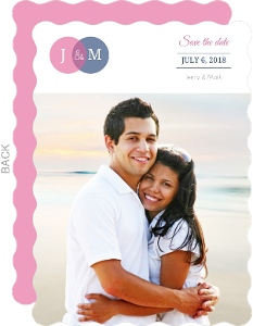 Pink and Blue Circles Wedding  Save the Date