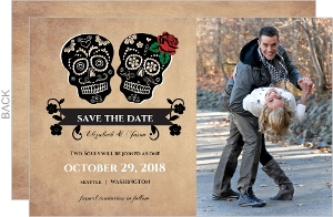 Day of the Dead Skulls  Halloween Save The Date Announcement