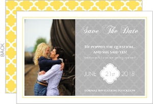 Yellow and Gray Pattern  Save the Date Card