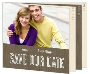 Wood Grain Rustic Save The Date Card