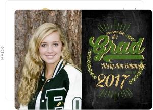 Rustic Green Chalkboard Graduation Announcement