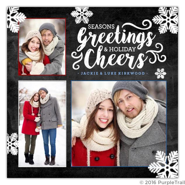 Chalk Snow Flakes Holiday Photo Card