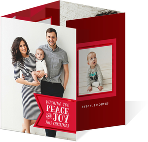 Peace and Joy Banner Christmas Quadfold Photo Card
