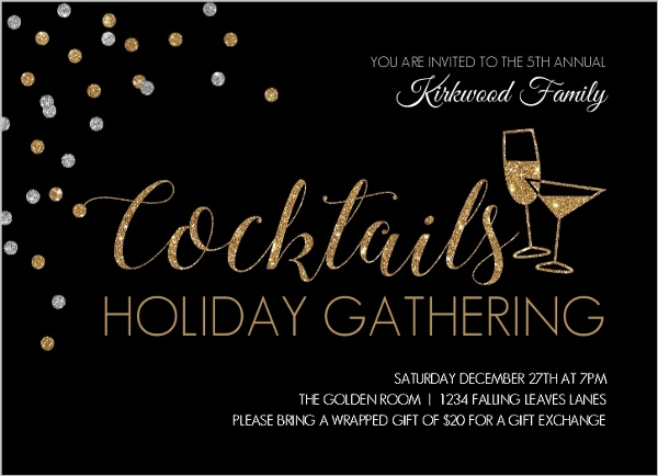 Elegant Cocktails Holiday Party Invitation – Elegant Holiday Party Invitations