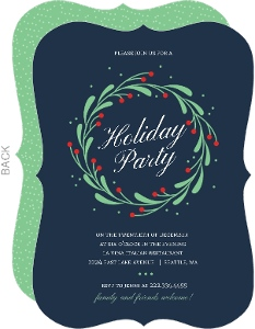 Whimsical Mistletoe Wreath Holiday Party Invitation