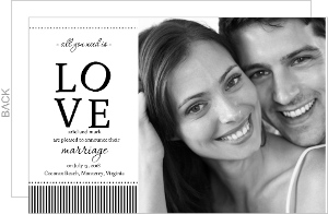 Black White Stripes Love Wedding Announcement