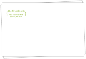 Green Bracket Return Address Envelope