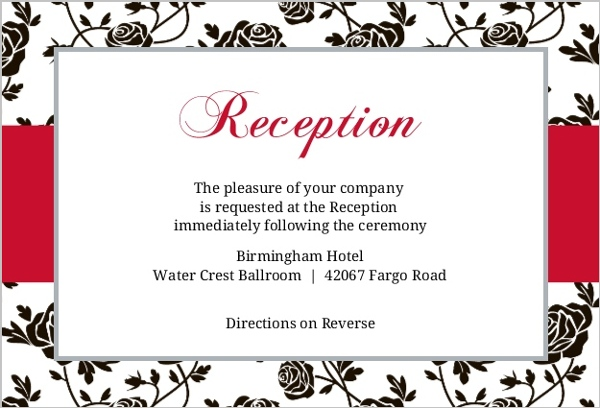 Romantic Roses Black And Red Reception Card