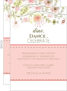 Spring Floral Border Reception Card