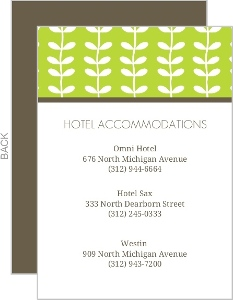 Green Spring Pattern Wedding Enclosure Card