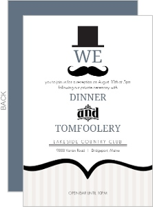 Cream And Blue Mustache Wedding Enclosure Card