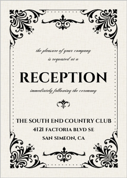 Black And White Victorian Reception Card