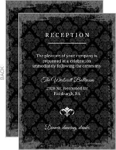 Gray Damask Candelabra Halloween Enclosure Card