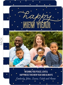 Navy Faux Gold Foil Dot New Years Photo Card