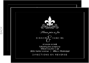 Black And White Fleur De Lis Reception Card
