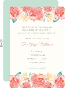 Pink Elegant Watercolor Flower  Enclosure Card