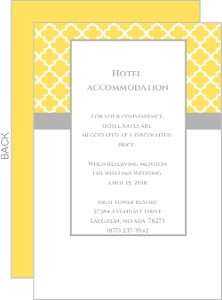 Yellow and Gray Pattern  Wedding Enclosure Card