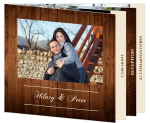 Wooden Picture Perfect Love  Wedding Booklet Card