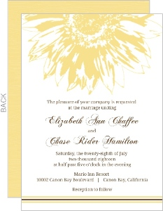Simple Sunflower Brown and Yellow  Wedding Invitation