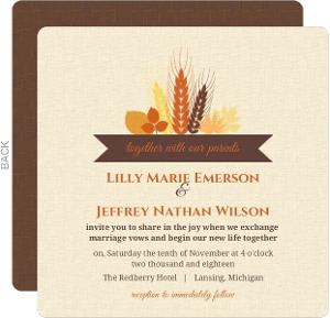 Rustic Fall Wheat and Leaf Bouquet  Wedding Invitation