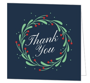 Whimsical Mistletoe Wreath Thank You Card