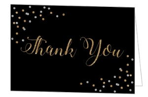 Elegant Faux Glitter Thank You Card