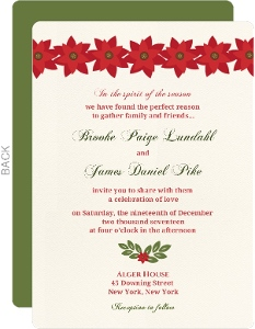 Red and Green Floral Christmas Wedding Invitation