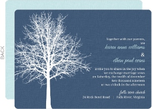 Navy Blue Winter Tree  Wedding Invite