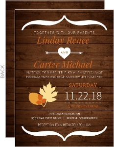 Rustic Fall Orange And Brown Wedding Invitation