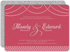 Elegant Pink Royal Pattern Wedding Invitation