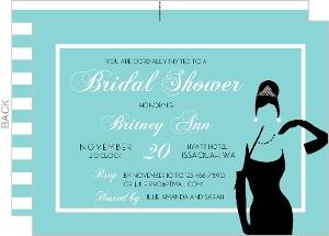 Striped White Tiffany Blue Bridal Shower Invitaion