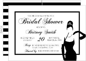 Striped White Tiffany Bridal Shower Invitaion