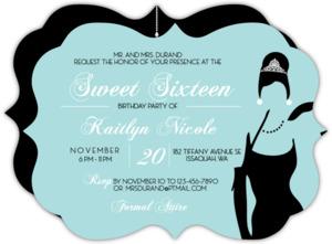 White Tiffany Blue Sweet Sixteen Invitaion