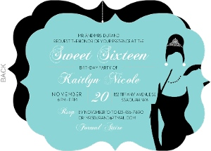 White Tiffany Blue Sweet Sixteen Invitaion