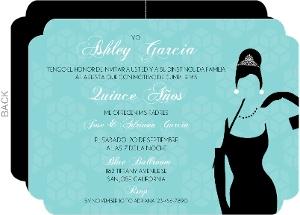 White Tiffany Blue Quinceanera Invitaion