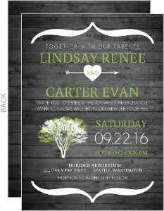 Modern Rustic Gray And White Tree Wedding Invitation