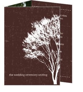 Rustic Country Love Brown And White Tree Wedding Invitation
